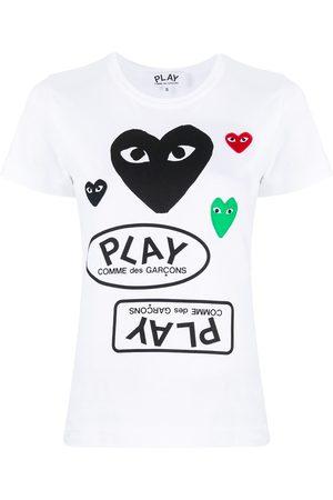 Comme des Garçons Logo-print heart-motif T-shirt