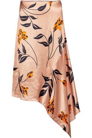 Marni Floral satin asymmetric midi skirt
