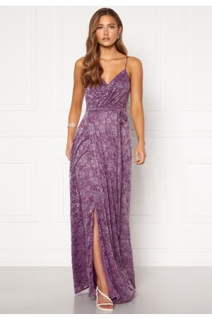 Goddiva Lace Wrap Maxi Dress Dusty Lavender XS (UK8)