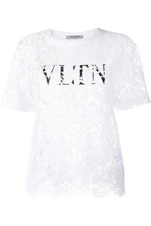 VALENTINO Logo print lace-layered t-shirt