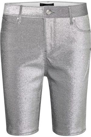 RTA Toure metallic stretch-denim shorts