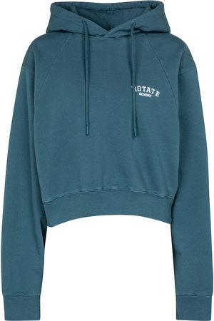 ROTATE Cropped cotton jersey hoodie
