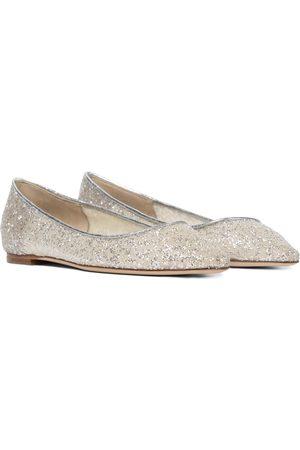 Jimmy Choo Romy leather-trimmed glitter ballet flats