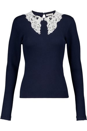 Chloé Lace-trimmed cotton sweater