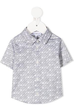 Emporio Armani Logo lettering stretch-cotton shirt