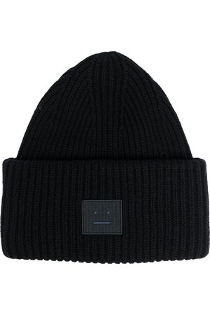 Acne Studios Pipot - Face patch ribbed beanie
