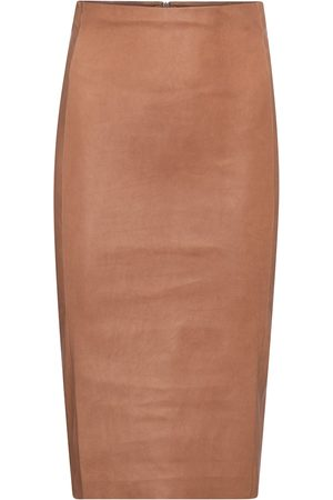 Stouls Naiset Nahkahameet - Scarlett high-rise leather midi skirt