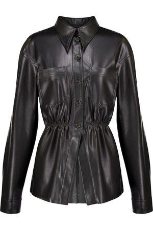 Nanushka Thalita ruched faux leather shirt