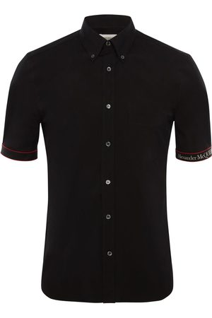 Alexander McQueen Logo Tape Stretch Cotton Shirt