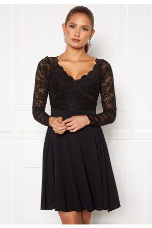 Goddiva Long Sleeve Lace Skater Dress Black XS (UK8)