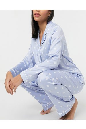 Chelsea Peers Blue spotted long sleeved shirt and trousers pyjama set