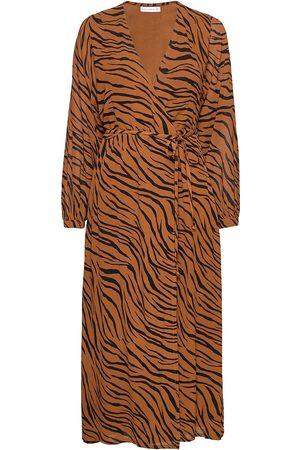 FAITHFULL THE BRAND Naiset Midimekot - Florian Wrap Dress Polvipituinen Mekko Ruskea
