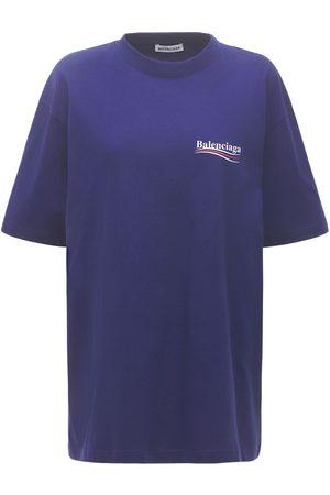 Balenciaga Naiset T-paidat - Political Logo Cotton Over T-shirt