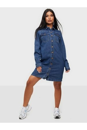Pieces Naiset Kesämekot - Pcperry L/S Denim Dress-Vi/Noos Bc