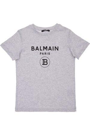 Balmain Pojat T-paidat - Logo Printed Cotton Jersey T-shirt