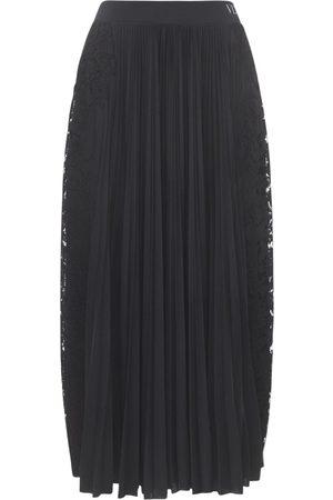 VALENTINO Pleated Tech Jersey & Lace Skirt