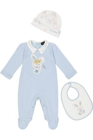 MONNALISA Baby cotton onesie, hat and bib set