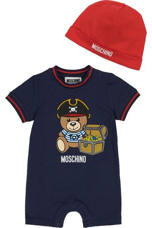 Moschino Kids Setit - Baby stretch-cotton playsuit and hat set