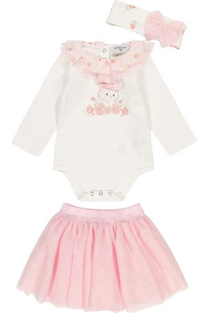 MONNALISA Baby cotton outfit and tulle skirt