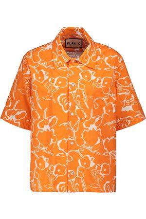 Plan C Naiset T-paidat - Floral cotton shirt