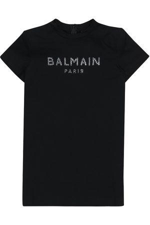 Balmain Tytöt Rennot Mekot - Logo embellished cotton T-shirt dress