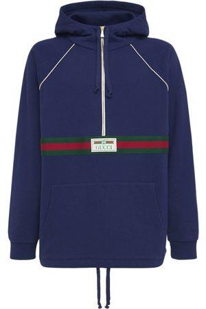 Gucci Miehet Collegepaidat - Logo Web Cotton Half Zip Hoodie