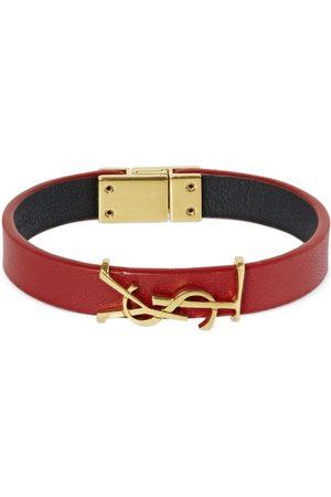 Saint Laurent Single Wrap Ysl Leather Bracelet