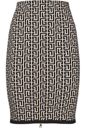 Balmain Monogram Jacquard Wool Blend Skirt