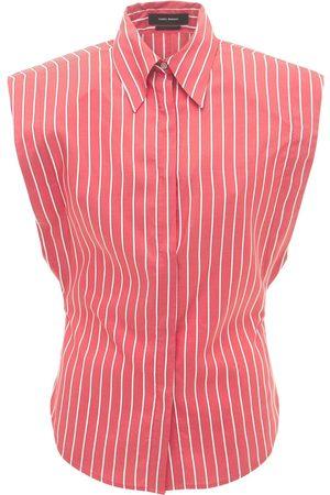 Isabel Marant Enza Sleeveless Striped Silk Shirt