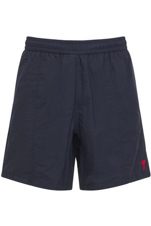 Ami Logo Embro Nylon Canvas Long Swim Shorts