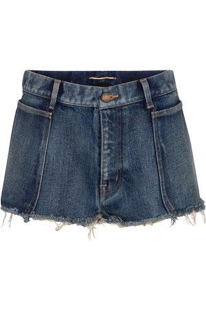 Saint Laurent Naiset Farkkushortsit - Frayed low-rise denim shorts