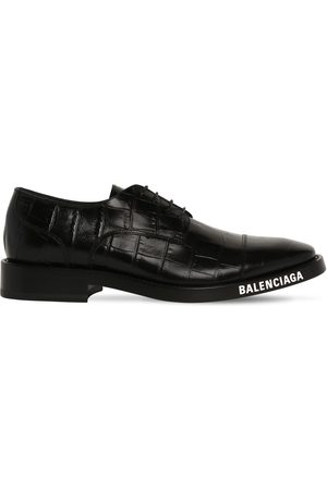 Balenciaga Croc Embo Leather Lace-up Derby Shoes