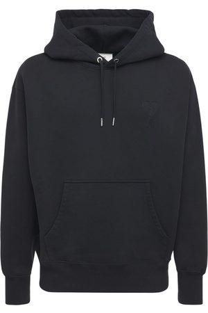 Ami Logo Embro Boxy Cotton Jersey Hoodie