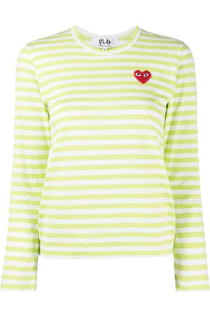 Comme Des Garçons Play Striped embroidered heart top