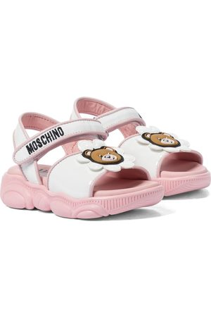 Moschino Kids Patent leather-trimmed sandals
