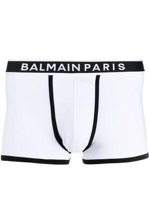 Balmain Logo-waistband cotton boxer shorts
