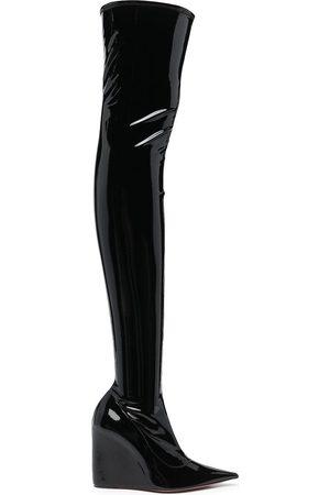 Amina Muaddi Danielle thigh-high glossy boots
