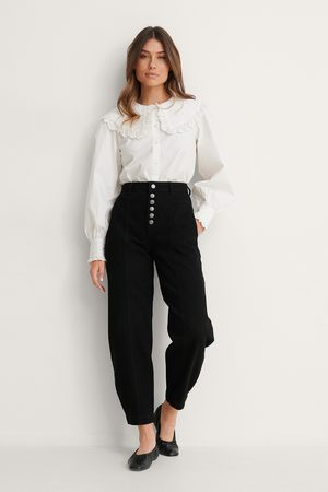 NA-KD Button Fly Cocoon Jeans - Black