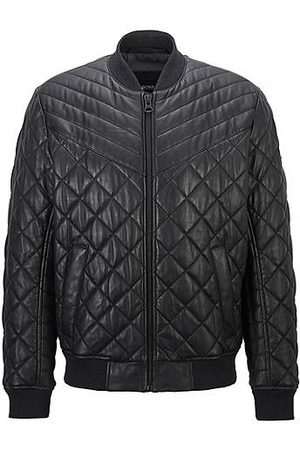 HUGO BOSS Slim-fit blouson-style quilted jacket in waxed leather