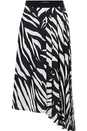 HUGO BOSS Zebra-print midi skirt with asymmetric hem