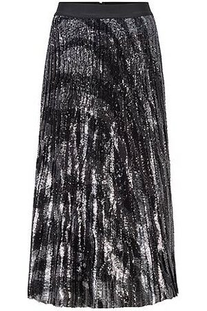HUGO BOSS Naiset Printtihameet - Sequinned midi-length skirt in zebra-print plissé fabric