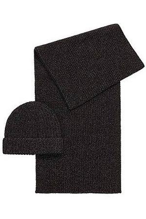 HUGO BOSS Naiset Hatut - Beanie hat and scarf set in metallised fabric