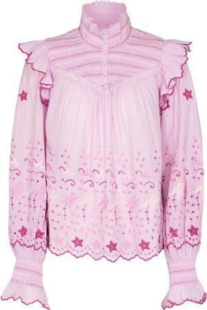 LOVESHACKFANCY Kassie embroidered cotton blouse