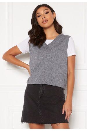Object Thess S/L Knit Waistcoat Medium Grey Melange S