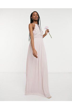 adidas Naiset Maksimekot - Bridesmaid pleated wrap detail maxi dress in mink-Pink
