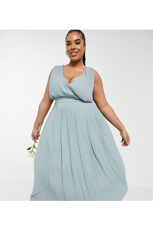 adidas Naiset Kesämekot - Bridesmaid pleated wrap front midaxi dress in sage-Green