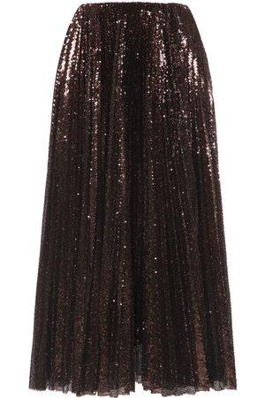 Ralph Lauren Naiset Midihameet - Pleated Sequined Tulle Midi Skirt