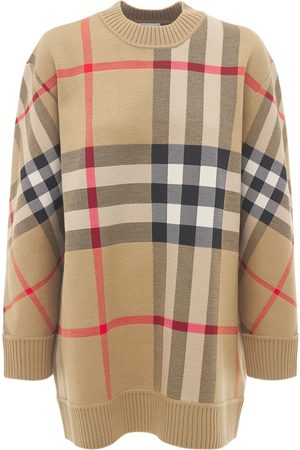 Burberry Calee Wool Blend Check Crewneck Sweater