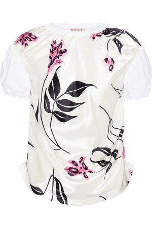 Marni Floral satin and cotton T-shirt