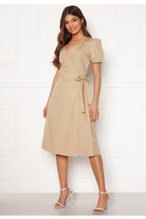 Vila Sille S/S Wrap Midi Dress Nomad 36